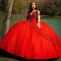2021 Sexy Dark Red Quinceanera Dresses V Neck Lace Appliqus Crystal Beading Tulle Sweet 16 Sweep Train Plus Size Party Prom Evening Gowns Ball Gown