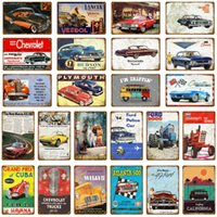 Vintage Auto Touring Bus Metall Zinn Zeichen Pub Bar Home Garage Dekor Amerikanisch Chevrolet Corvette Vintage Wandkunst Malerei Poster