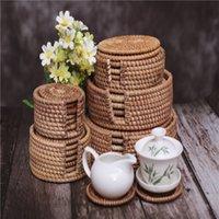 6 pcs / set tapis plateaux de thé TeaNaMade Tapis de rotin tissé à la main en osier Tapis de plaque résistant à la chaleur pour pots à thé rond PANS PANS Set de montagnes de montagnes antidérapantes avec support