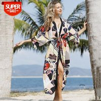 European and American chain check cardigan sun protection clothing beach coat bikini swimsuit cover up outside #ty9O