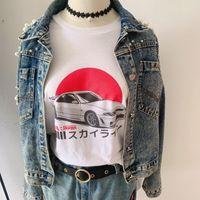 Women's T-Shirt 1pcs Japan Car Letter Tees Arrival Summer Women 100%Cotton Funny T Shirt Female Cute Slogan