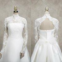 الزفاف الدانتيل سترة عالية طوق الأكمام الطويلة يزين التفاف غمد الزفاف بوليرو لفساتين الزفاف مخصص سترة عالية الجودة