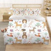 Bedding Sets Cartoon Animal Bear Deer 3D Luxury Set Kids Duvet Cover Quilt Home Textiles King Queen Double Full Size Dropship