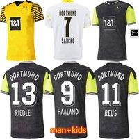 Dortmund futebol jersey casa fora borussia quarto 4th 2021 2022 camisa de futebol haaland reus neongelb bellingham sancho hummels brandt homens + kit kit maillot de pé