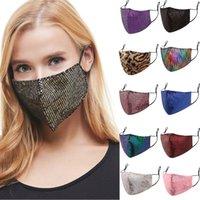 Face Masks Fashion BlingBling Sequin Paillette Designer Luxury Mask Washable Reusable Adult Mascarillas Protective Adjustable HH21-267