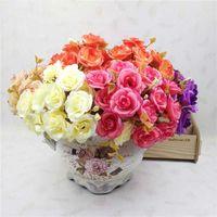 Panno di seta Rosa artificiale 14heads / 1bundle Festa di nozze multicolore Flower Flower Plants Real Touch Fai da te Bouque Home El Decor Decorative Flower