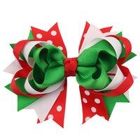 Girls Bow Christmas Hair Clip Ribbon Bow Lay Over 3D Barrettes Kids Christmas Headdress Children Cute Designer Hair Clips GWA8818