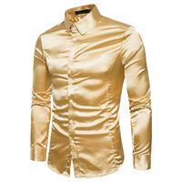 남성에 대 한 실크 셔츠 남자 새틴 부드러운 남자 솔리드 턱시도 비즈니스 셔츠 캐주얼 슬림 맞는 반짝이 골드 웨딩 드레스 셔츠 210610