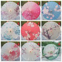 Paraguas de papel a prueba de lluvia Paraguas Chino Tradicional Artesanía Papel de Papel Paraguas Manija de Madera Sombra Paraguas Etapa Props BWE8675