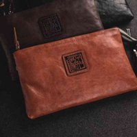 Designer bags leather retro men's clutch bag neutral vegetable tanned layer cowhide leather soft leather wallet hand bagLuxury bag