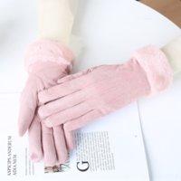 YYF inverno camurça de dedos de dedos e luvas Estudantes adorável tela sensível ao toque coreano espessante glooves quentes e glov