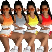 Donne da due pezzi set da donna Pantaloni estivi Set Tops + Shorts Gamet Tshirt Senza maniche Stilly Neck Moda Casual Letter Stampa Gradiente 2 Pic Suit Plus Size S / M / L / XL / 2XL