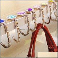 Rails Storage Housekee Organization Home & Gardenfoldable Purse Hooks Desk Handbag Holder Shell Bag Folding Table Hanging Hook With Crystal