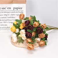 Decorative Flowers & Wreaths 6 Small Peony Artificial For Party DIY Wedding Family Decoration Outdoor Autumn Office Decor