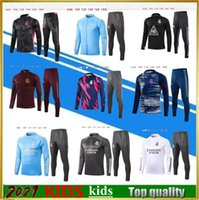 Top 2021 Real Madrid Kids Fussball Jerseys Tracksuit Kit 20 21 Hazard Jersey Hoodie Benzema Bale Full Zip Football Jogging Jacket Training Anzug