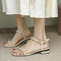 Sandals 2021 Est Summer Designer Women High Heels Prom Pearl Thick Square Toe Sweet Lady Party Shoes