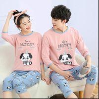 Summer Pajama Sets Cotton Women Sleepwear Couple Pajamas 2pcs Pants Mens Pyjamas Pijamas Home Wear