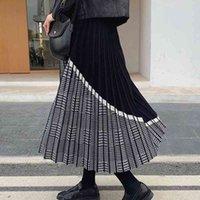 Jupes bygouby noble tricot jacquard tricot tricoté élastique taille haute maxi automne hiver épais fête chaude plissée plissée