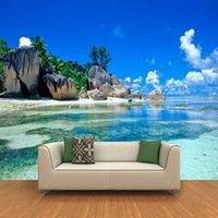 Fondos de pantalla Dropship Custom Mural Dormitorio no tejido Habitación Livig Habitación TV Sofá telón de fondo 3D Po Wallpaper Ocean Sea Beach Decoración de la casa