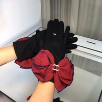 Fashionable autumn winter warm gloves big bow Cross-border outdoor woolen yarn with touch screen Plus velvet thickening
