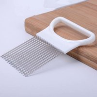 Onion Tomato Vegetable Slicer Cutting Aid Guide Holder Slicing Cutter Gadget Stainless Steel Kitchen Gadget Tools