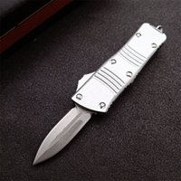 Promotion Silver MT UT Automatic Tactical Knife D2 Stone Wash Blade CNC 6061-T6 Handle EDC Gift Knives With Nylon Bag