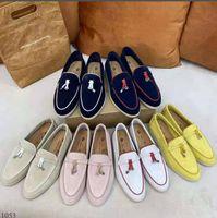 스웨이드 가죽 남성 여성 드레스 신발 럭셔리 잠금 디자이너 Loro 도보 파티 플랫 Moccasin 비즈니스 신발 선물 34-46