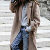 Kadın Ceket Uzun Katı Zarif Uzun Kollu Turn-down Yaka Yün Ceket Kadın Kadın Giyim Khaki Siper T3JN #