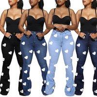 Women's Jeans Bell Bottomed Wide Leg Womens Clothing Heart Printing Classic High Waist Denim Pants Bootcut Trousers