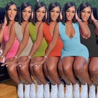Femmes Robe Designer Sexy Slim Casual Casual Couleur Solide Couleur Mode Jupe Été Mini Jupe Sans Manches Party Discothèque Plus Taille Robes