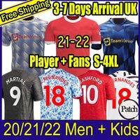 2021 2022 맨체스터 탑 FC 축구 유니폼 그린 우드 포기 랏슈 포드 긴 소매 축구 셔츠 Bruno Fernandes Martial UTD Kit 21 22 남자 아이들 유니폼