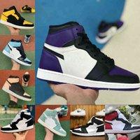2021 Ny 1 1s Basketskor Män Kvinnor Crimson Tint Chicago Shadow Obsidian Rookie Årets Royal Blue Bred Toe UNC Patent Green Court Purple Sport Shoe