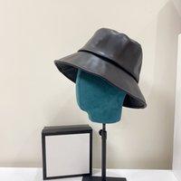 가죽 간단한 인쇄 패턴 야생 어부 모자 패션 Stingy 브림 남자 여자 모자 비니 태양 해변 모자 아이콘 보닛 양동이 casquette b와 b