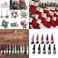 Décorations d'Halloween de Noël Chaussettes à tricoter en laine Forfait sac de cadeau Pendentif Pendentif Santa Claus Xmas Arbre Ornements