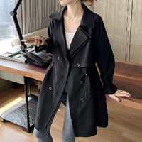Women's Trench Coats 2021 Korean Fashion Women Jacket Solid Color Retro Lapel Double Breasted Long Sleeve Temperament Elegance Autumn Winter