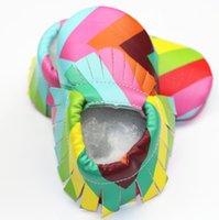 Infant Ttassel First Walkers Baby Girls Rainbow Scarpe stampate Toddler Kids morbido scarpe traspirante A6328