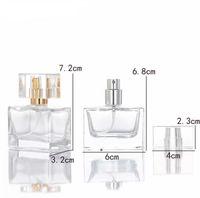 Quadrat 30 ml Klar Leere Glas Parfüm Flaschen Großhandel ätherische Ölflasche Spray für Parfums Kosmetische Verpackung HHF6137