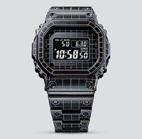Reloj de cuarzo de cuarzo Casual para hombres 5600, banda de acero de malla LED Luz de luz fría Visualización Mundial Tiempo A prueba de agua Edición especial