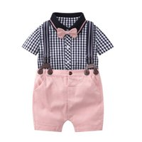 Clothing Sets Toddler Boys Gentlemen Suits Short Sleeves Plaid Shirt Rompers + Bib Pants 2Pcs Boy's Weddiing Party Babys Outfits