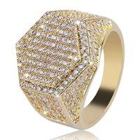 Hip Hop Cube Diamond Ring Rame Gold Gold Color Placcato Colore Placcato ACCELSO Micro Pavimentazione Zircone cubico anello per gli uomini Anelli di gioielli da uomo