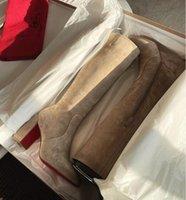 Женщины длинные ботинки зима прохладная леди обувь красные нижние сапоги высокие каблуки натуральная кожа замшевая сторона молнии кавалика 85 мм колена над добычей круглый носок
