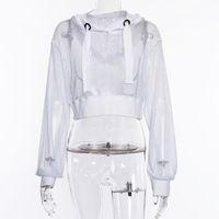 Women's T-Shirt Women Long Sleeve Loose Pullover Crop Top Hooded Mesh Fishnet Polyester Casual Hoodie Ladies See Through