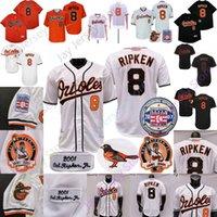 Cal Ripken Jr Jr. Jersey 2007 Hall of Fame 1975 1989 2001 Vintage Weiß Schwarz Orange Pullover Button Home Away Alle genäht und Stickerei