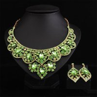 Earrings & Necklace Fashion Crystal Statement Collar Choker Bride Set Bridal Jewelry Sets Wedding Party Costume Accessories