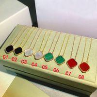 Klassieke ketting mode elegante klaver kettingen cadeau voor vrouw sieraden hanger hoogwaardige 8 kleur met doos