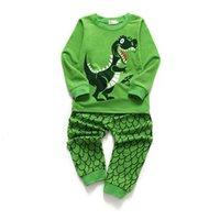 Boys Pyjamas Set Dinosaur Nightwear Toddler Clothes Kid Sleepwear Winter Long Sleeve Christmas Pjs Sets 2 Piece Outfit Xmas Gift