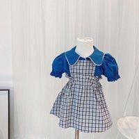 Giyim Setleri Yaz 2021 Kız Çocuk Çocuklar 2 adet Kısa Kollu Yaka Yaka Bluz Tops + Ekose Baskı Tulum Elbise