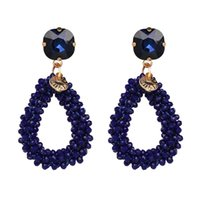 Boho Charm Women Jewelry Bohemian Wedding Resin Beaded Drop Dangle Crystal Statement Earrings