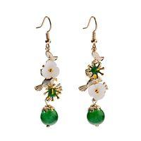 Старинные светлые роскошные моды подвесные серьги коралловые цветы формы украшения птица бабочка формы натуральные бусины подвесные серьги