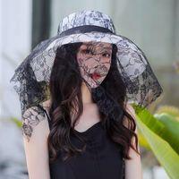 Sombrero de paja de malla de encaje negro de ancho sombreros de playa para mujer de moda para mujer de verano 2021 Protección UV Hepburn Sunhat Bonnets